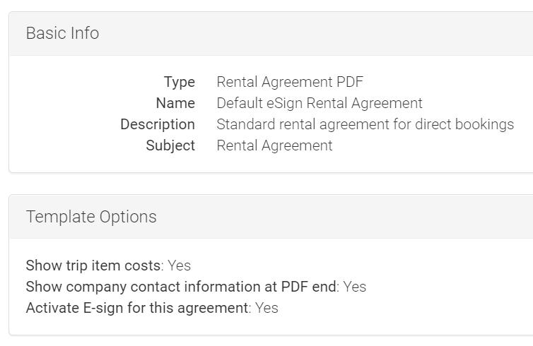 LMPM rental agreement information and options screenshot