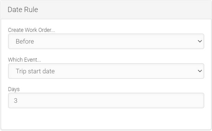 LMPM work order automation date rules screenshot