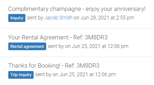 screenshot of emails a guest has received in LMPM
