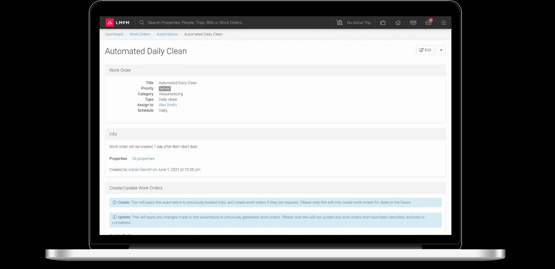 screenshot of LMPM's work order automation