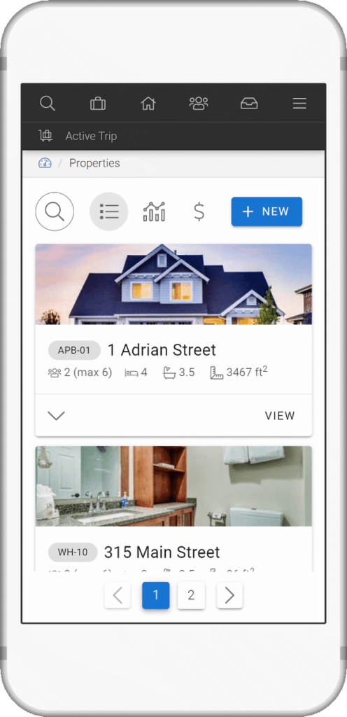 screenshot of LMPM vacation rental software in mobile device