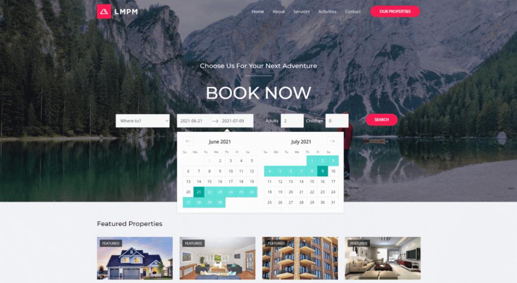 LMPM booking website screenshot