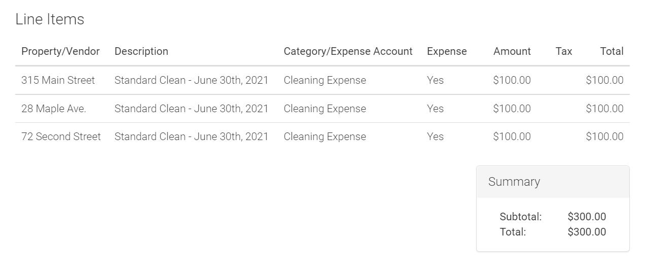 screenshot of bill line items in LMPM
