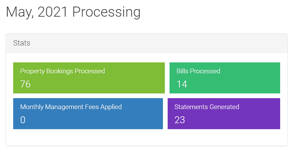 screenshot of LMPM month-end processing stats