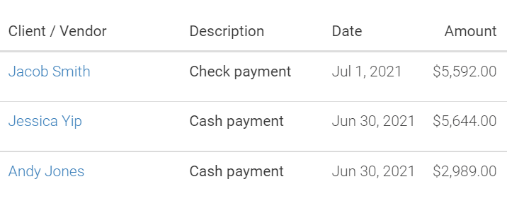 screenshot of LMPM transactions